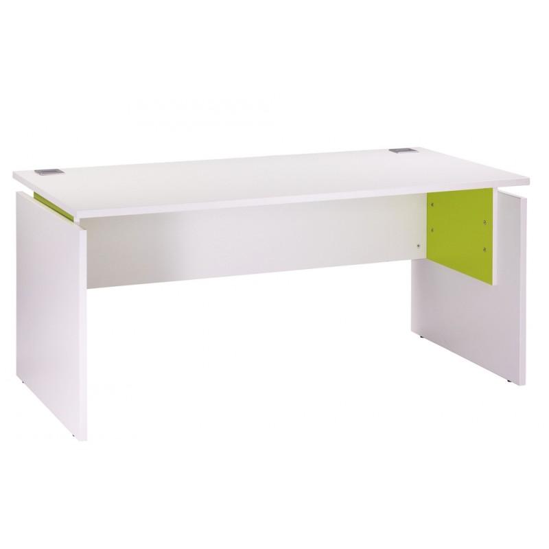 Bureau INEO - Réglable en hauteur - L160 x H74/78/82 x P80 cm - Pieds blanc - plateau blanc - Entretoise Anis