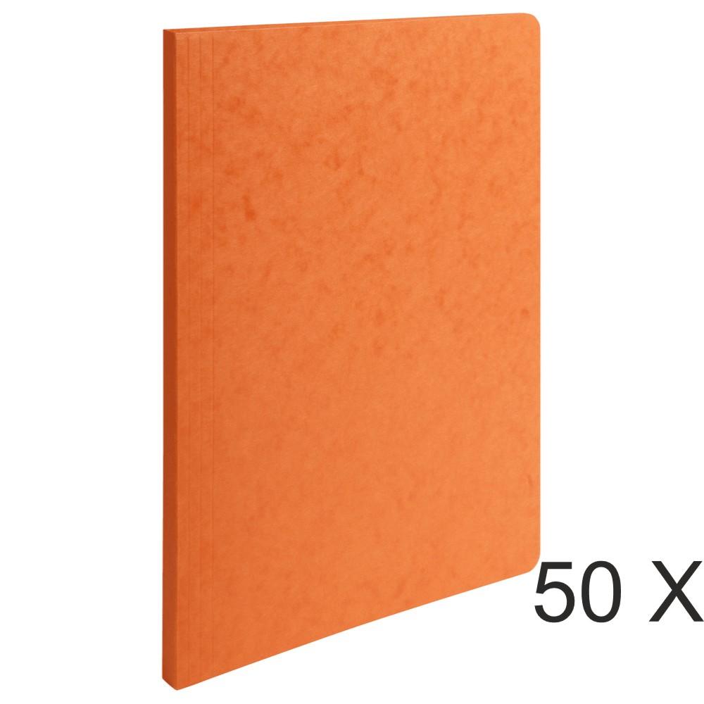 Exacompta - 50 Chemises à dos rainé - 400 gr - orange