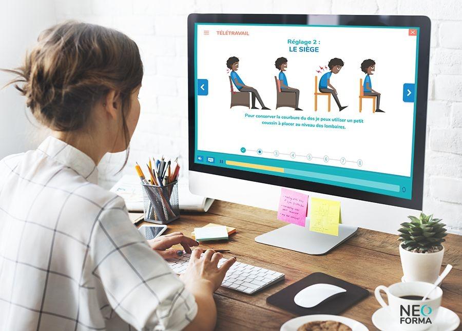 E learning - formation télétravail - gestes et postures