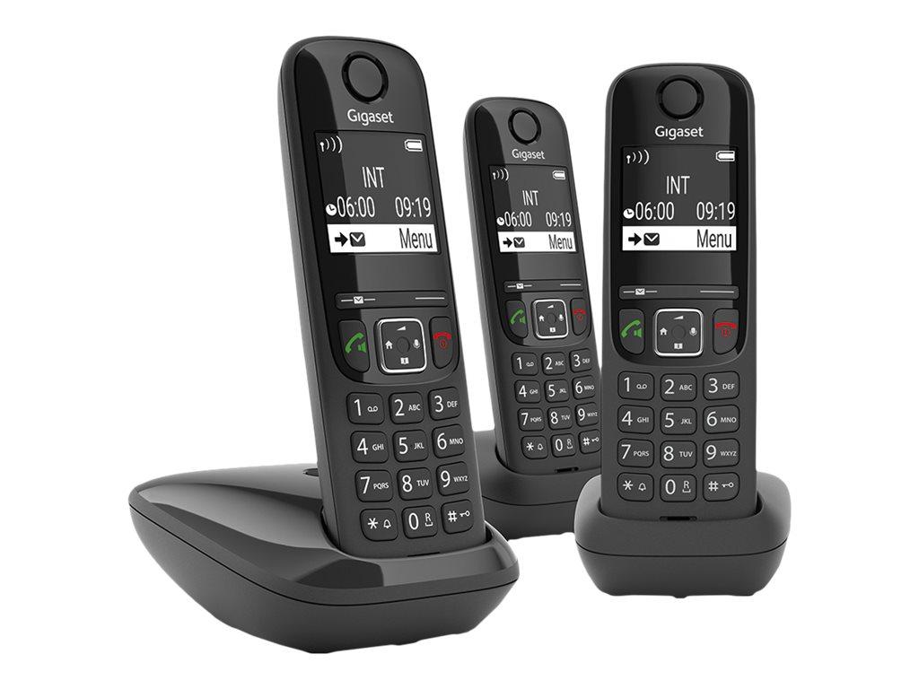 Gigaset AS690A Trio - téléphone sans fil + 2 combinés supplémentaires - avec répondeur - noir