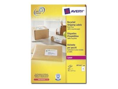 Avery - 800 Étiquettes adresse recyclées blanches - 67,7 x 99,1 mm - Impression laser - réf LR7165-100