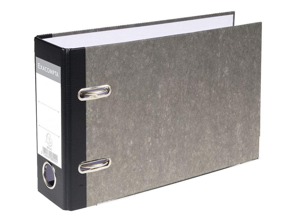 Exacompta - Classeur à levier à l'italienne - Dos 70 mm - A5 - pour 550 feuilles - gris marbré avec dos noir