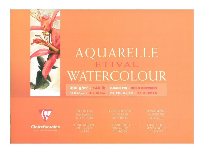 Clairefontaine Etival - Bloc de papier aquarelle - 25 feuilles 30 x 40 cm - 300 g/m²