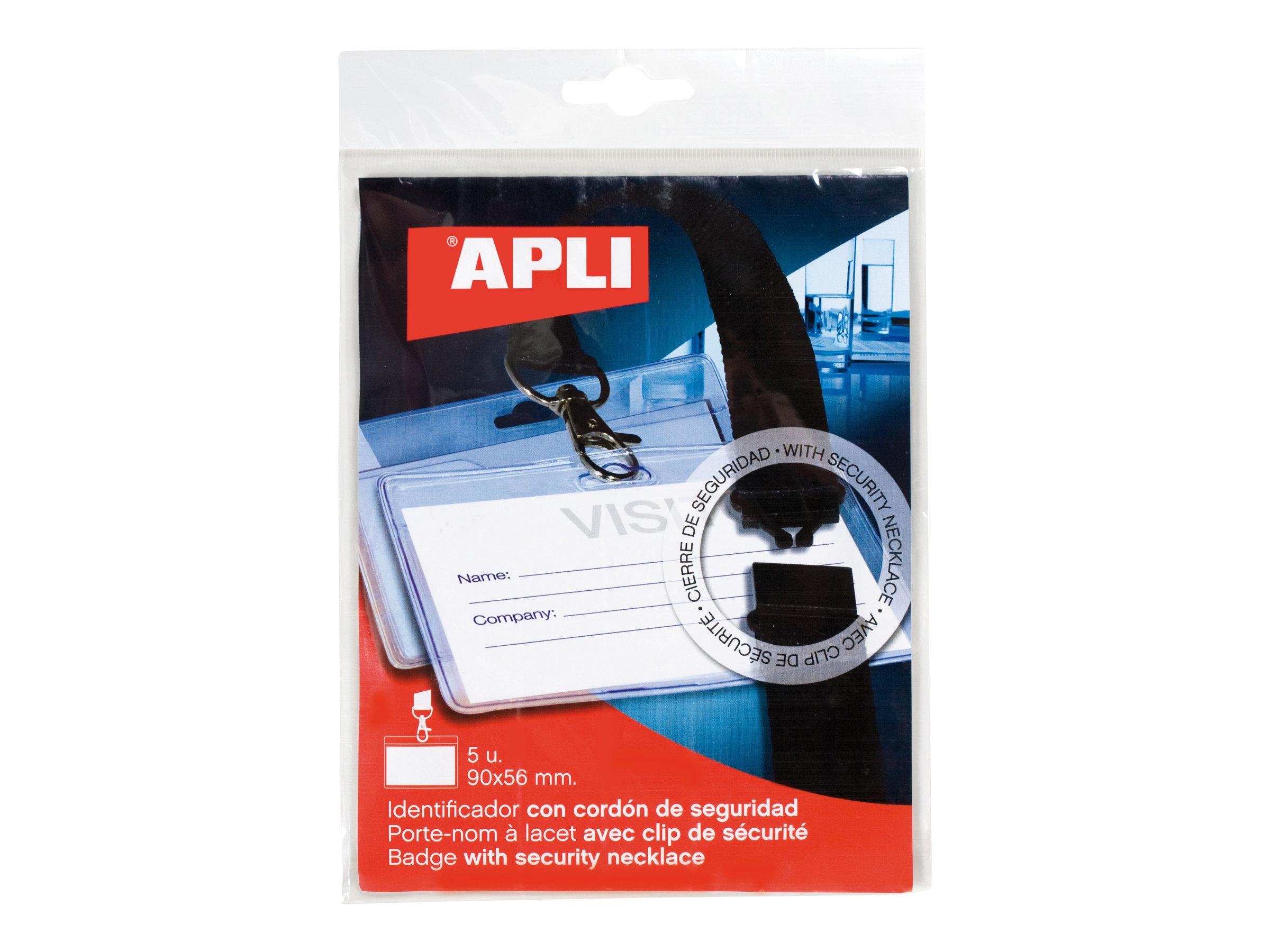 Apli Agipa - 5 Portes-badge de nom - pour 90 x 56 mm - lacet