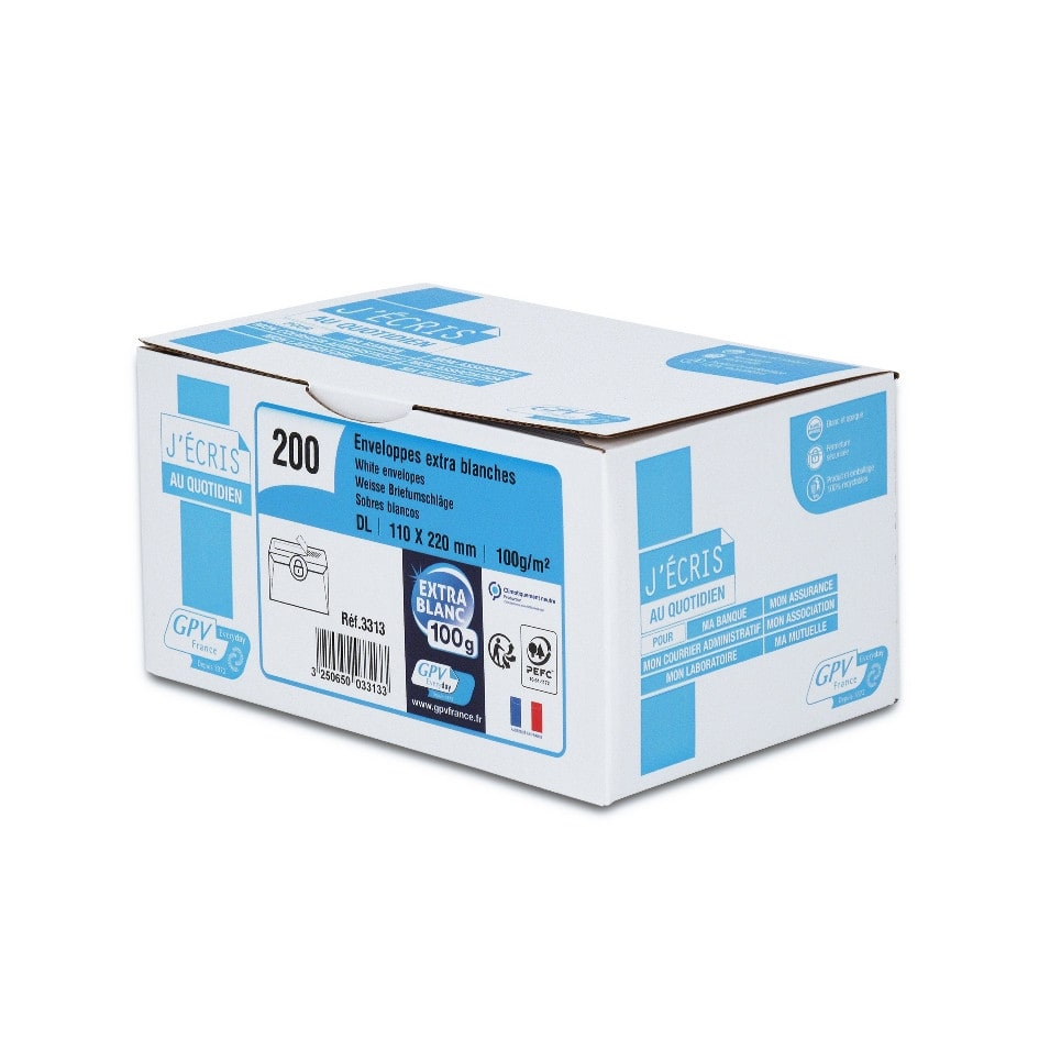 GPV - 200 Enveloppes DL 110 x 220 mm - 100 gr - sans fenêtre - blanc - bande adhésive