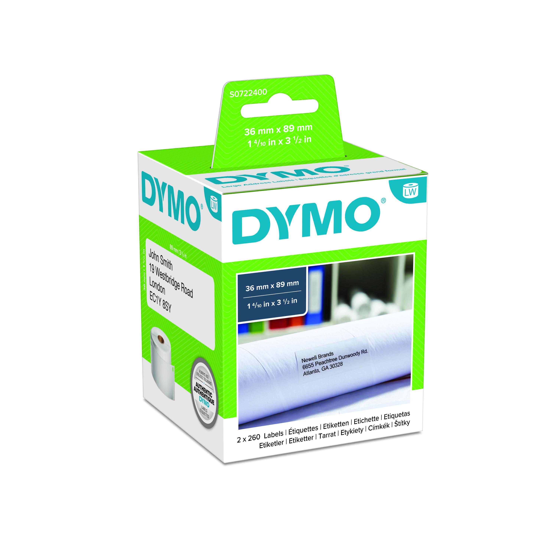 Dymo LabelWriter  - Ruban d'étiquettes auto-adhésives - 2 rouleaux de 260 étiquettes (36 x 89 mm) - fond blanc écriture noire