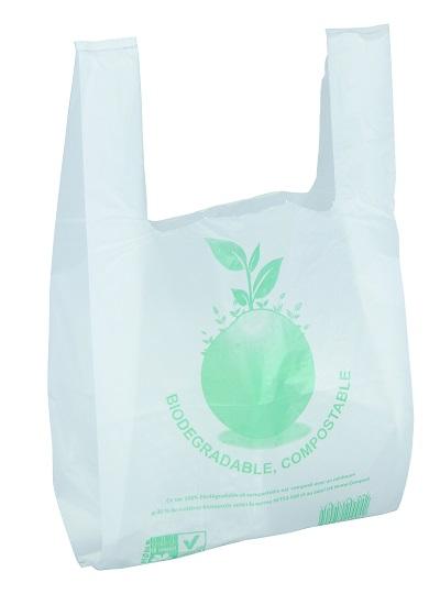 Logistipack - 100 Sacs bretelles biodégradables et compostables - 45 x 26 + 12 cm