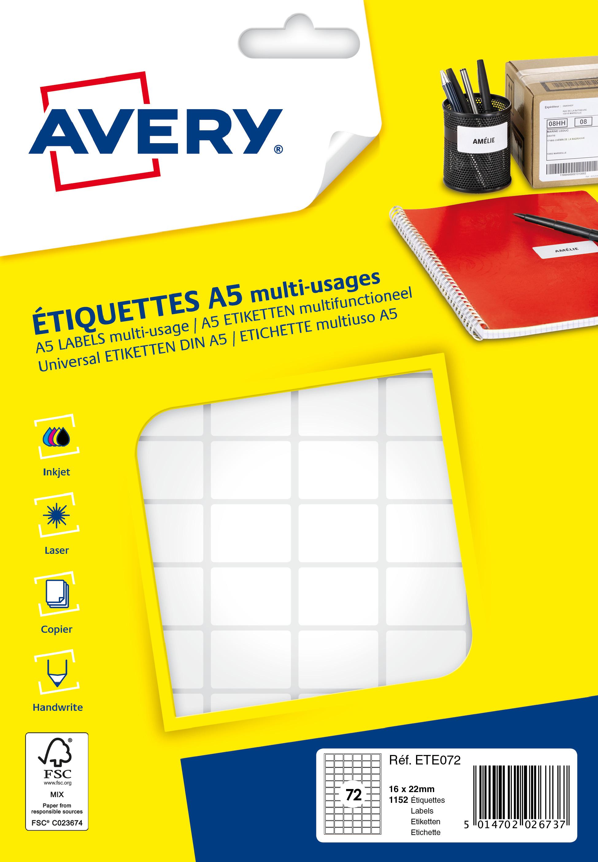 Avery - Etui A5 - 1152 Étiquettes multi-usages blanches - 16 x 22 mm - réf ETE072