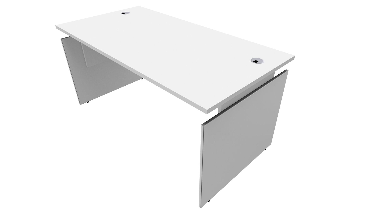Bureau INEO - Réglable en hauteur - L160 x H74/78/82 x P80 cm - Pieds blanc - plateau blanc - Entretoise Blanc