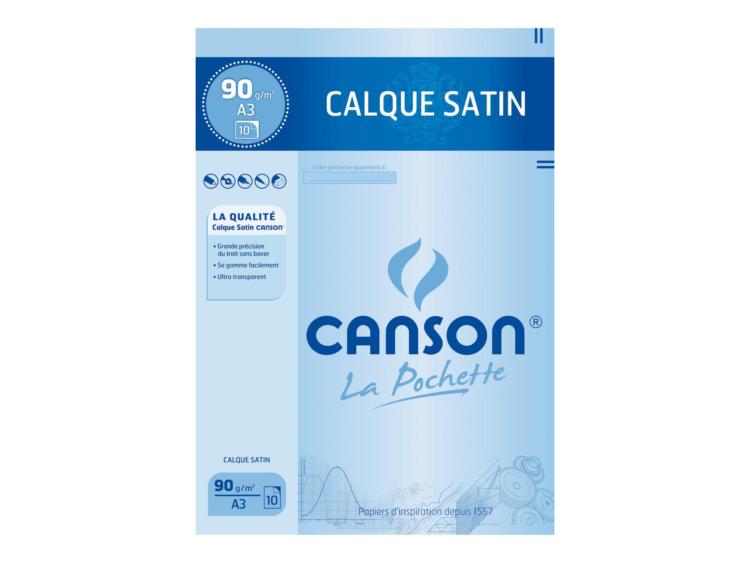 Canson - Pochette papier à dessin calque - 10 feuilles - A3 - 90G