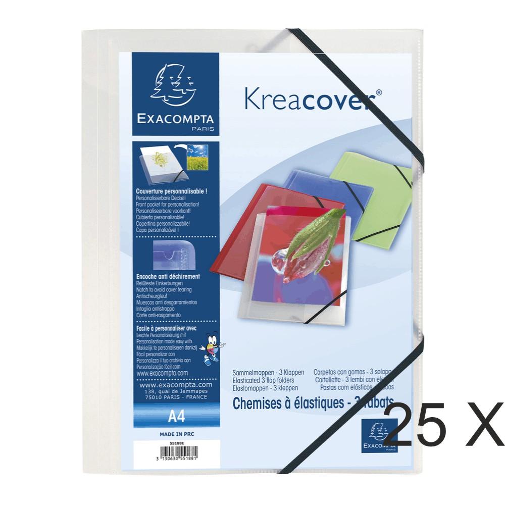 Exacompta Kreacover - 25 Chemises à 3 rabats personnalisables - incolore