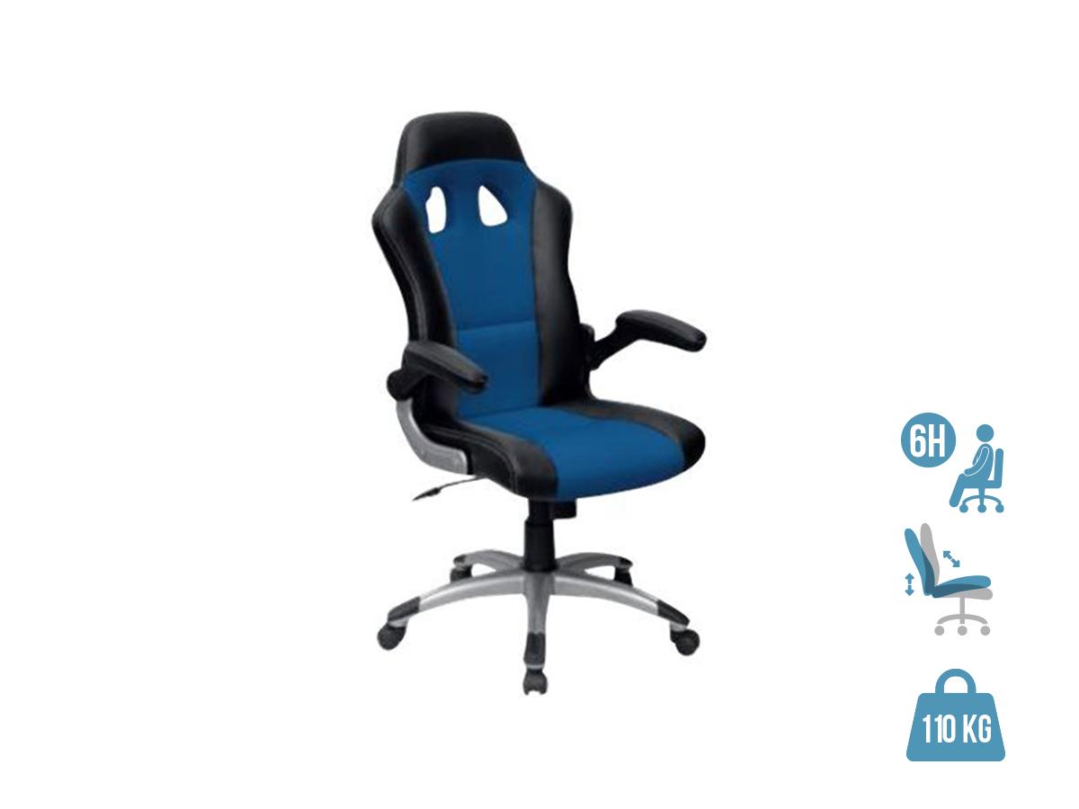 Fauteuil gamer RACER - accoudoirs rabattables - Noir et bleu