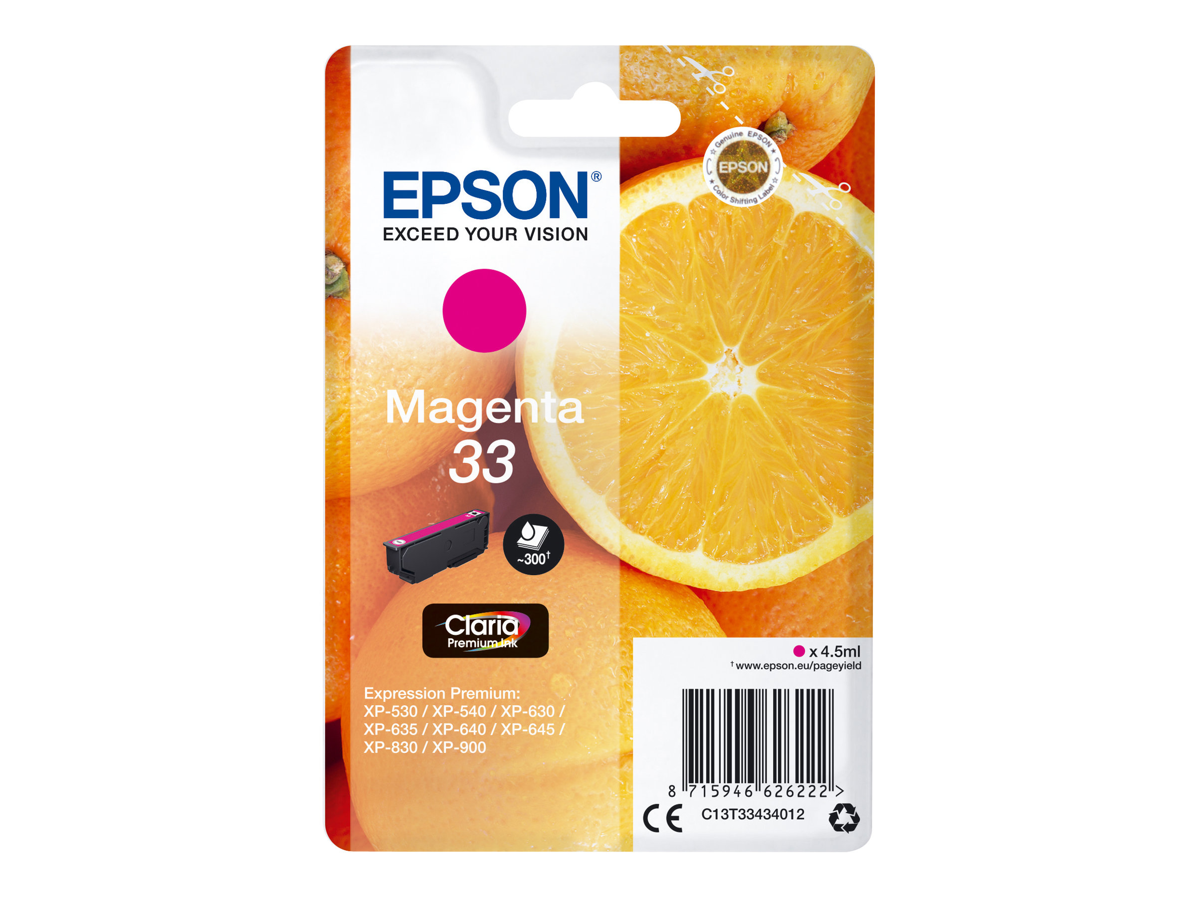 Epson 33 Oranges - magenta - cartouche d'encre originale