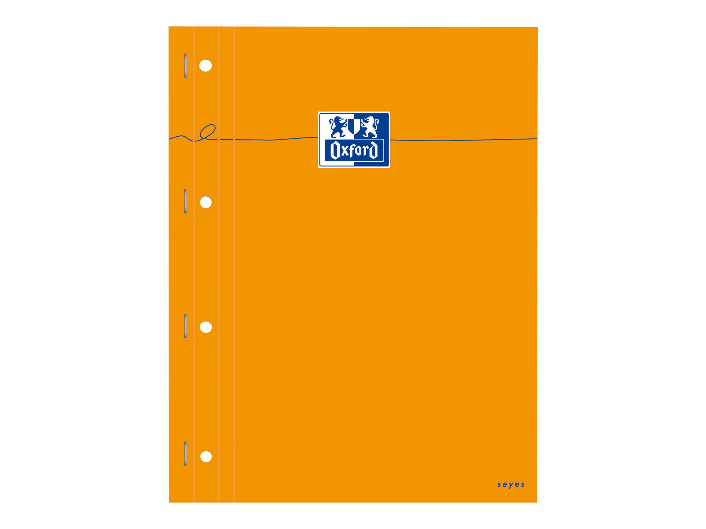 Oxford - Bloc notes - A4 - 160 pages - grands carreaux - perforé - orange