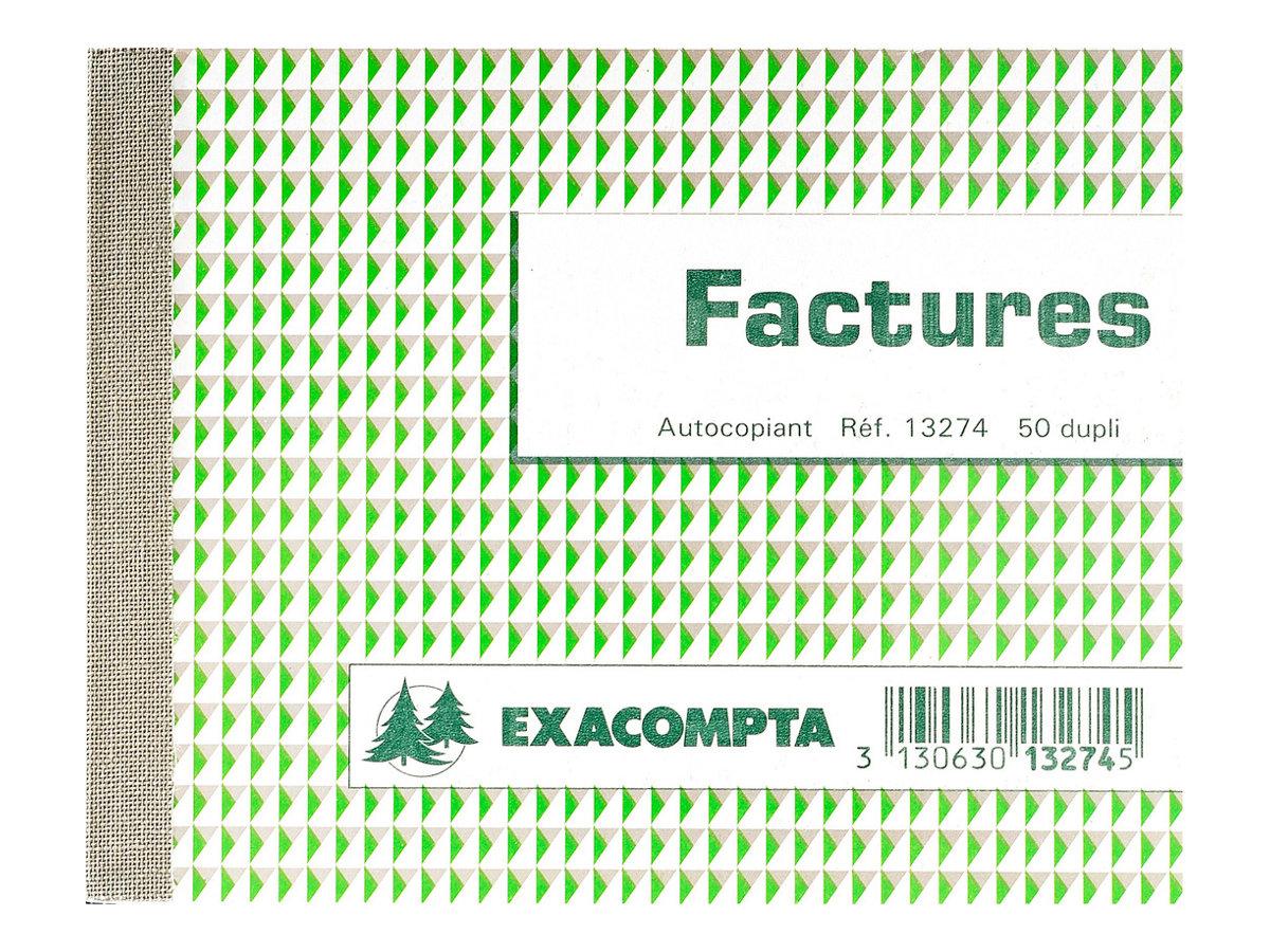 Exacompta - Manifold Carnet de factures - 50 dupli - 10,5 x 13,5 cm