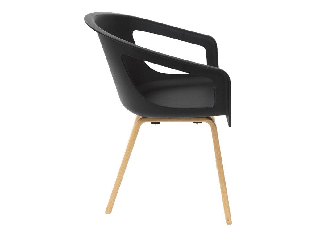 Chaise ONENNA - pieds bois - accoudoirs intégrés - coque noire
