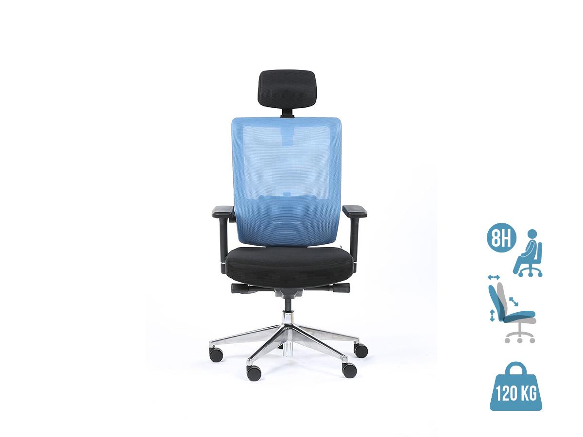 Fauteuil de bureau ergonomique SYNEC - accoudoirs réglables - appuie-tête réglable - noir et bleu