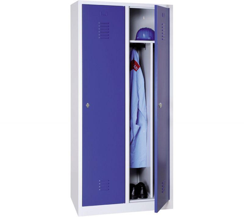 Vestiaire industrie salissante monobloc 2 colonnes - H180 x L80 x P50 cm - gris/bleu