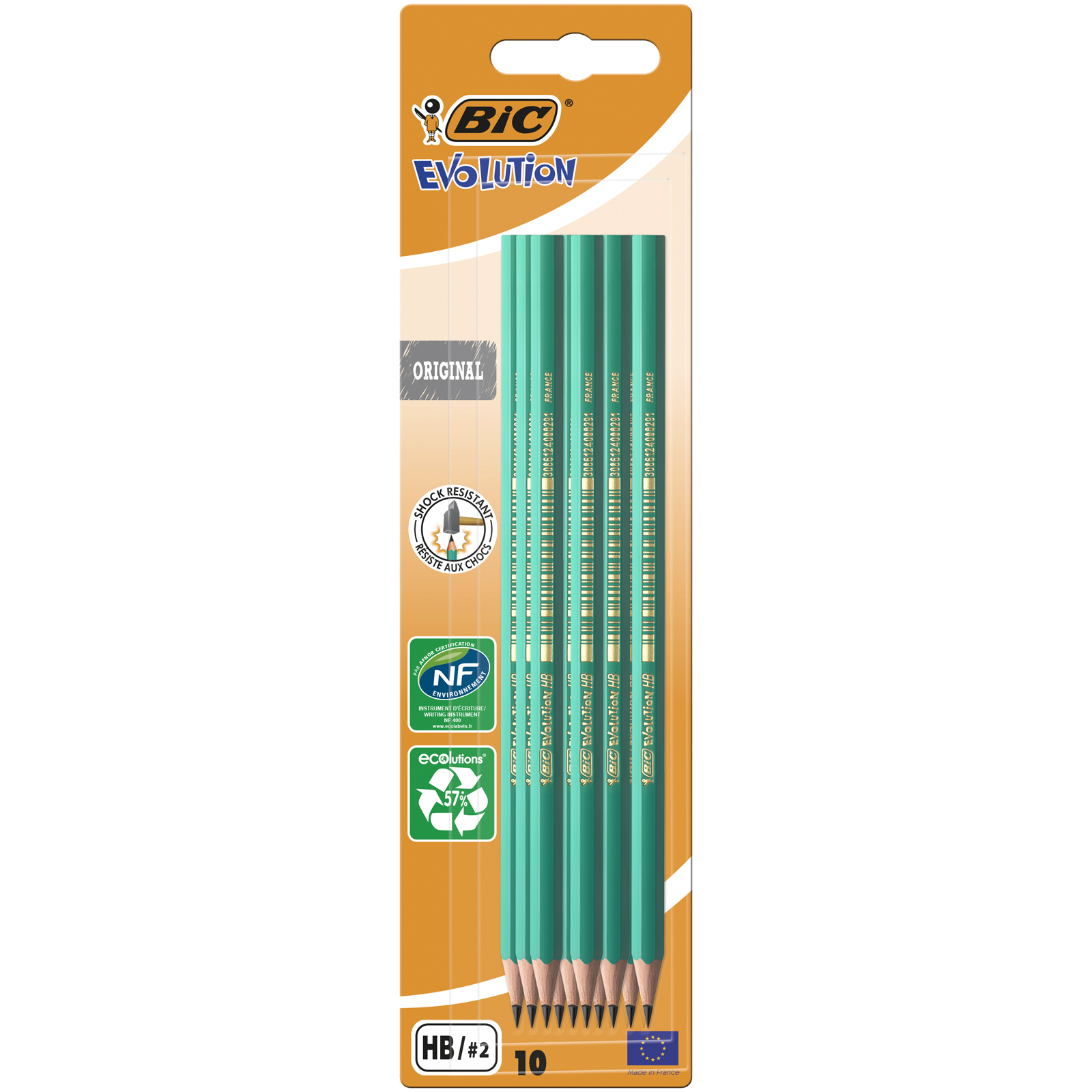 BIC ECOlutions EVOLUTION 650 - Pack de 10 Crayons à papier - HB