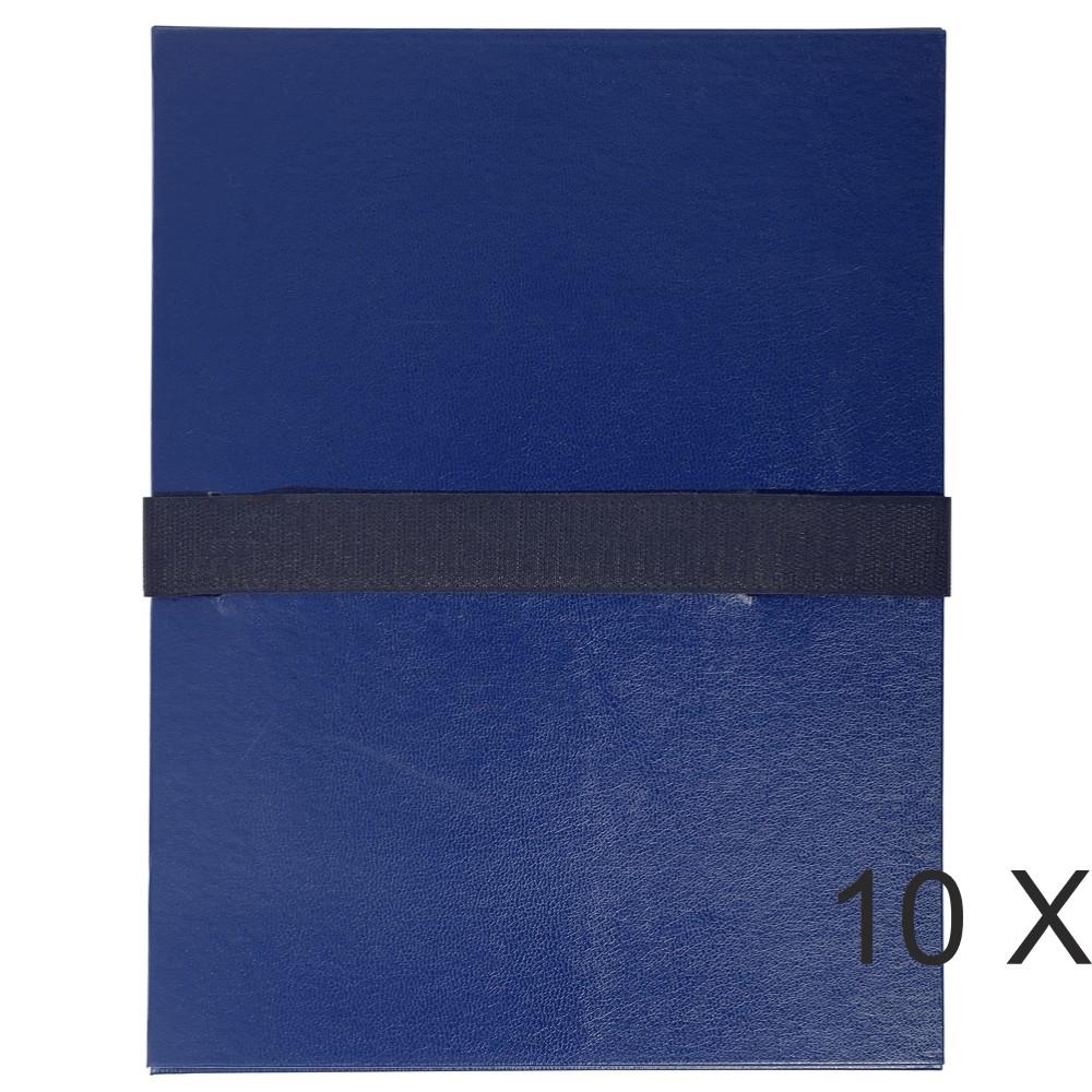 Exacompta - 10 Chemises extensibles 1 rabat à sangle scratch - bleu foncé