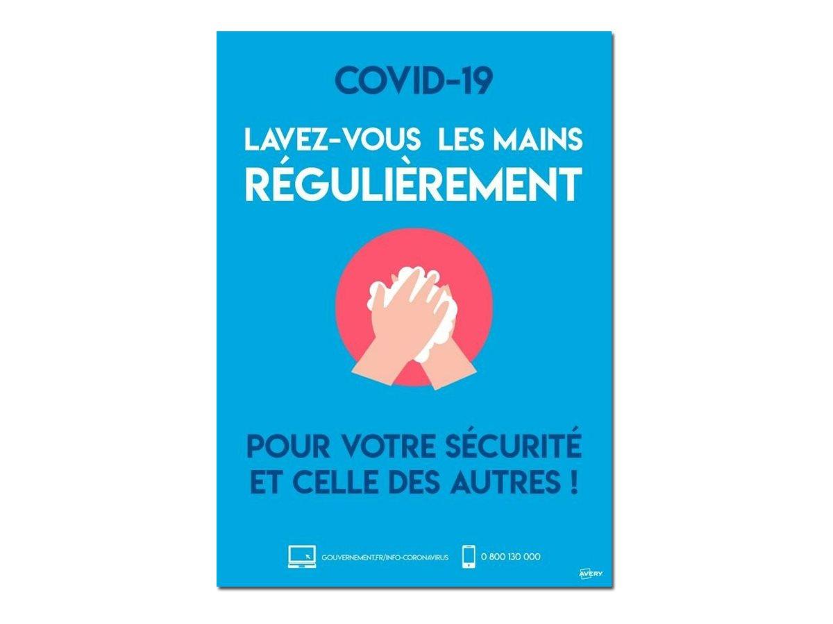Avery - Affiche de sécurité amovible A4 - lavez-vous les mains régulièrement