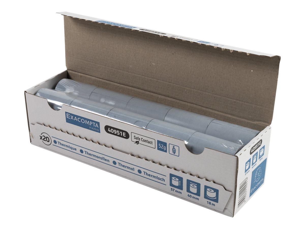 Exacompta - 20 Bobines caisses Safecontact - papier thermique simple couche 57 x 40 mm - 18 m