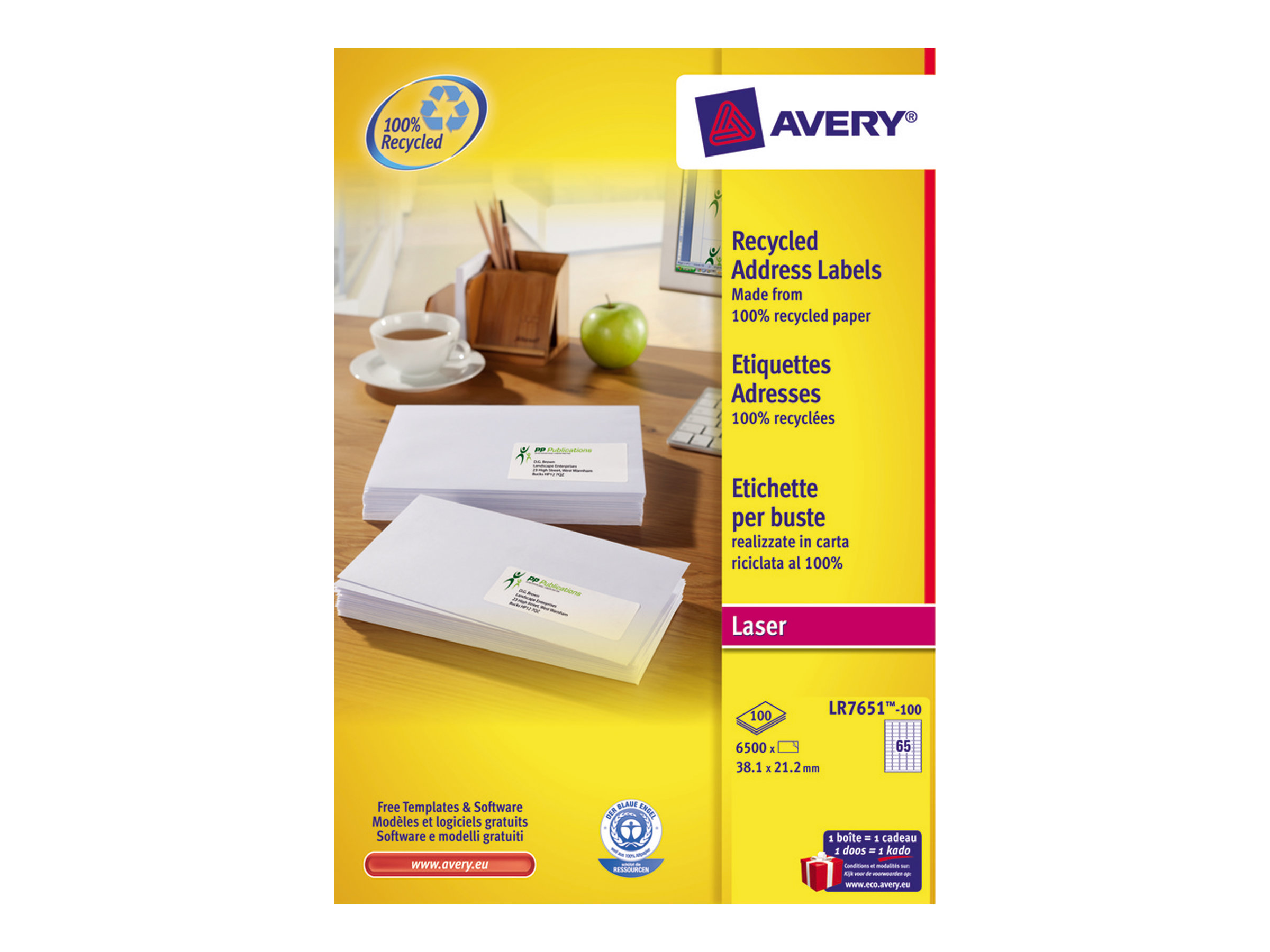 Avery - 6500 Étiquettes adresse recyclées blanches - 38,1 x 21,2 mm - Impression laser - réf LR7651-100