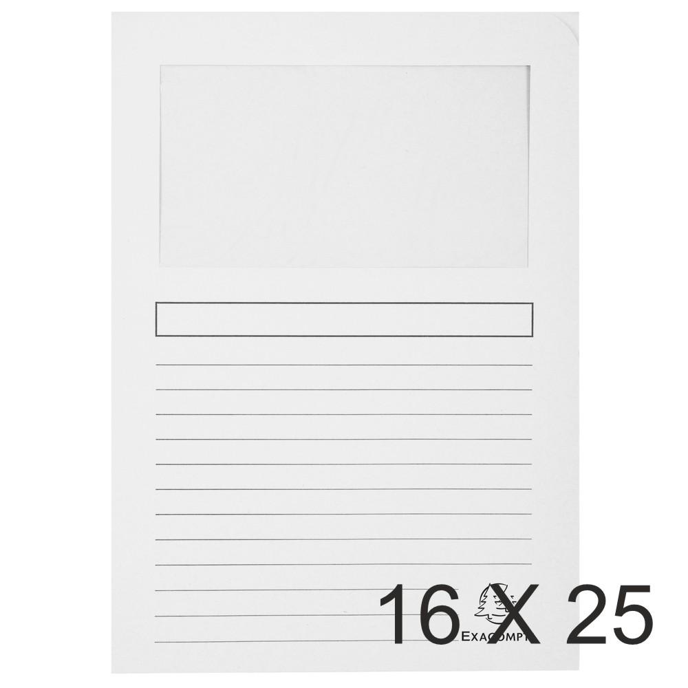 Exacompta Forever - 16 Paquets de 25 Chemises à fenêtre - 120 gr - blanc
