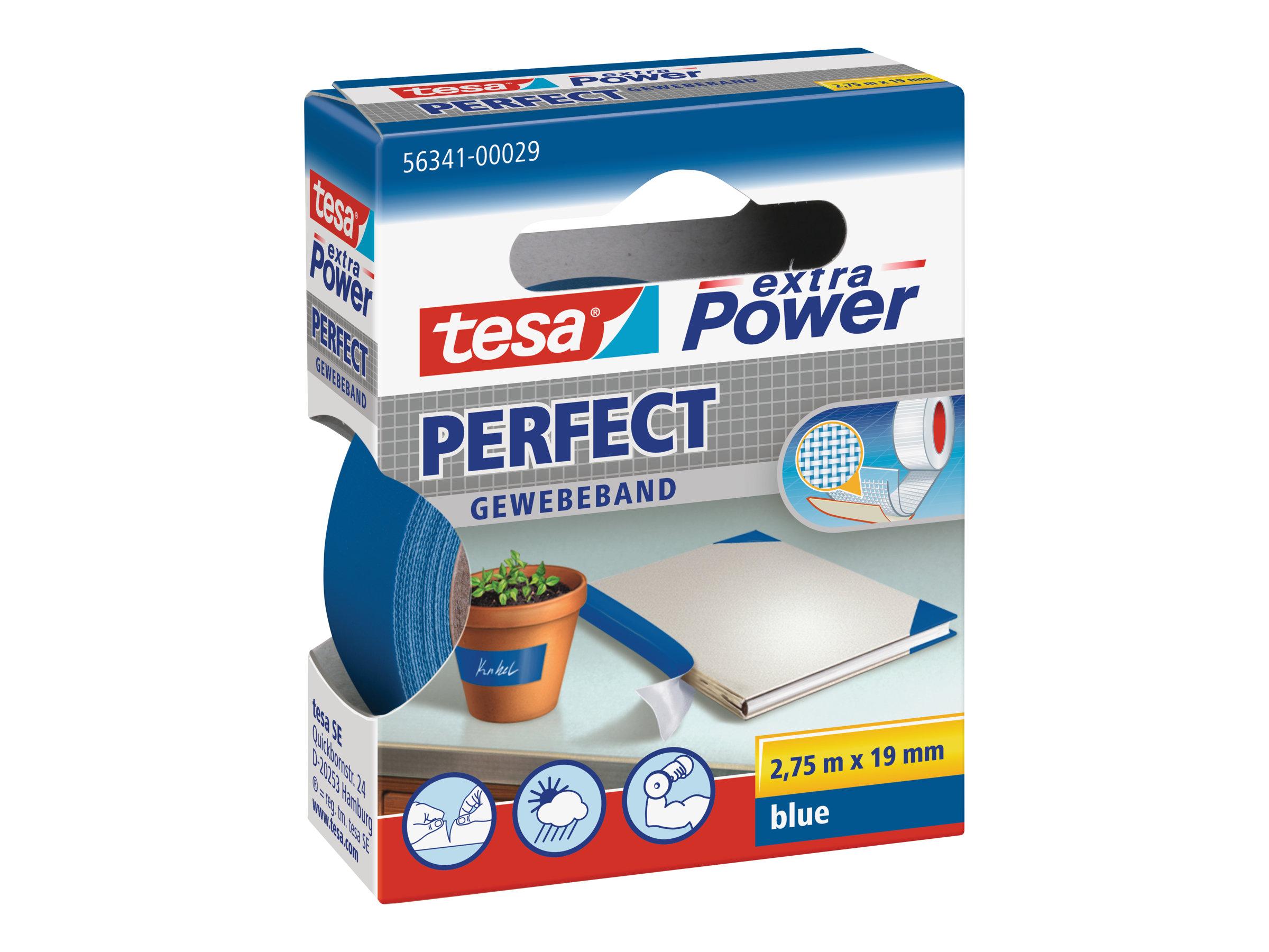 Tesa extra Power Perfect - Ruban adhésif en toile - 19 mm x 2.75 m - bleu