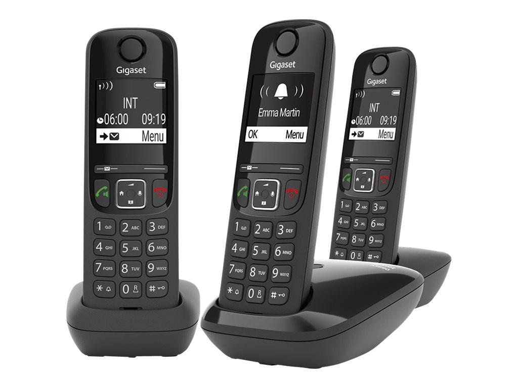 Gigaset AS690 Trio - téléphone sans fil + 2 combinés supplémentaires - noir