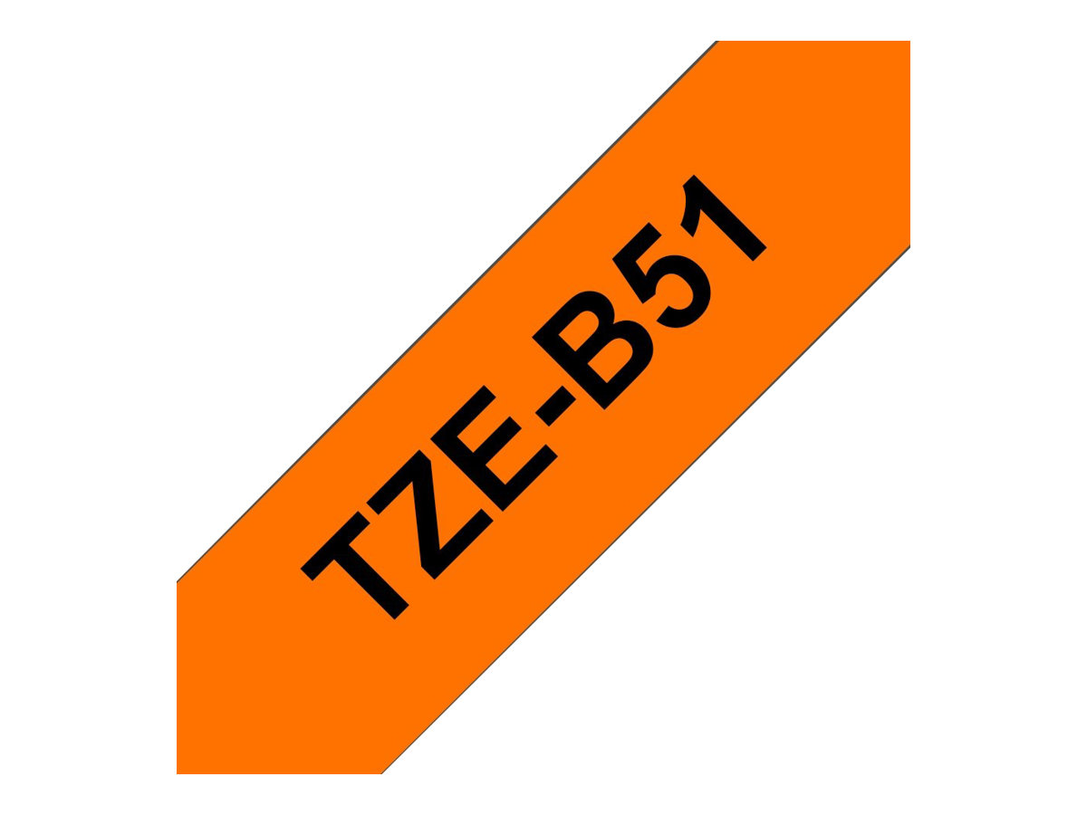 Brother TZeB51 - Ruban d'étiquettes auto-adhésives - 1 rouleau (24 mm x 8 m) - fond orange écriture noire fluorescent