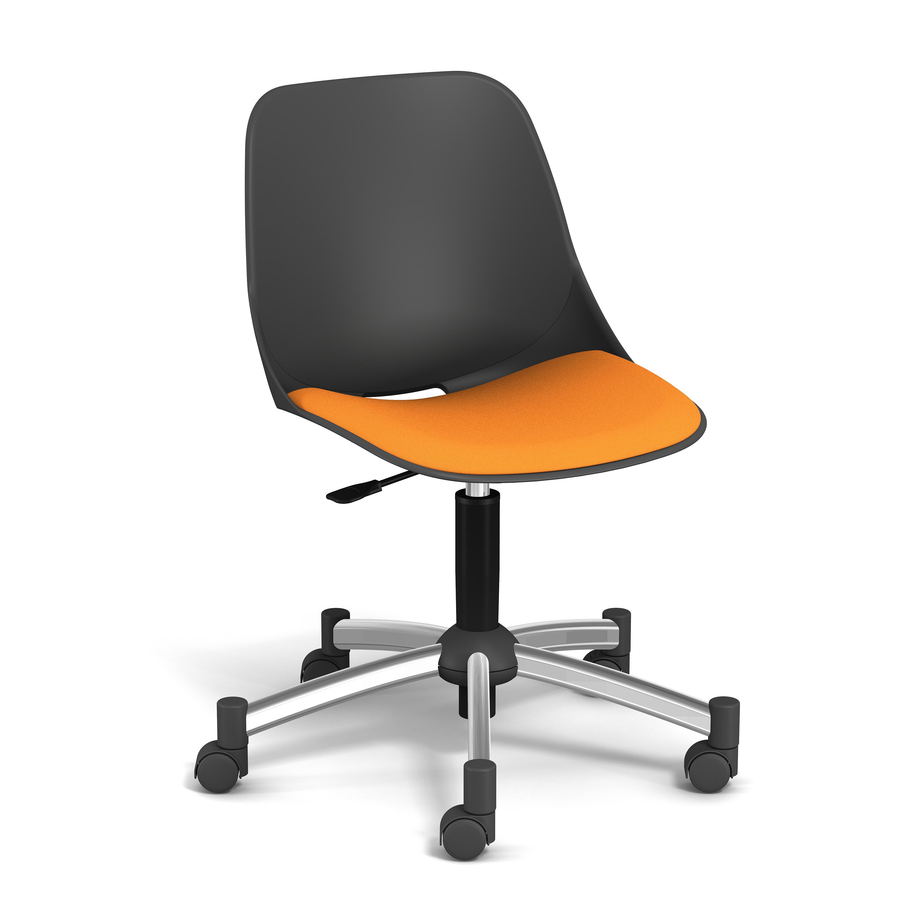 Chaise PALM - coque noire - assise mandarine - base chromé