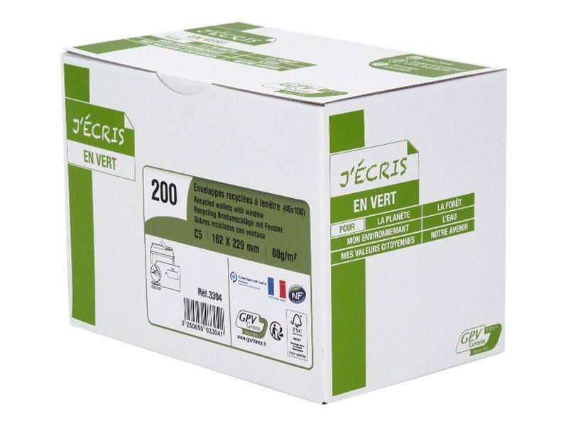 GPV Green - 200 Enveloppes recyclées C5 162 x 229 mm - 80 gr - fenêtre 45x100 mm - blanc - bande adhésive ouverture rapide