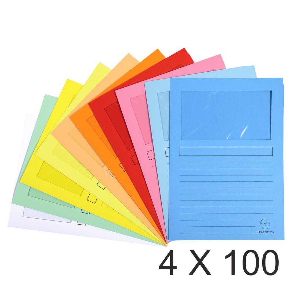 Exacompta Super 160 - 4 Paquets de 100 Chemises à fenêtre - 160 gr - couleurs assorties