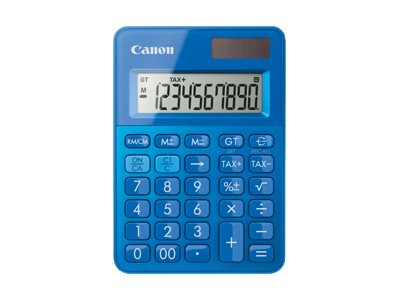 calculatrice de bureau Canon LS-100K - 10 chiffres - alimentation batterie et solaire - bleu