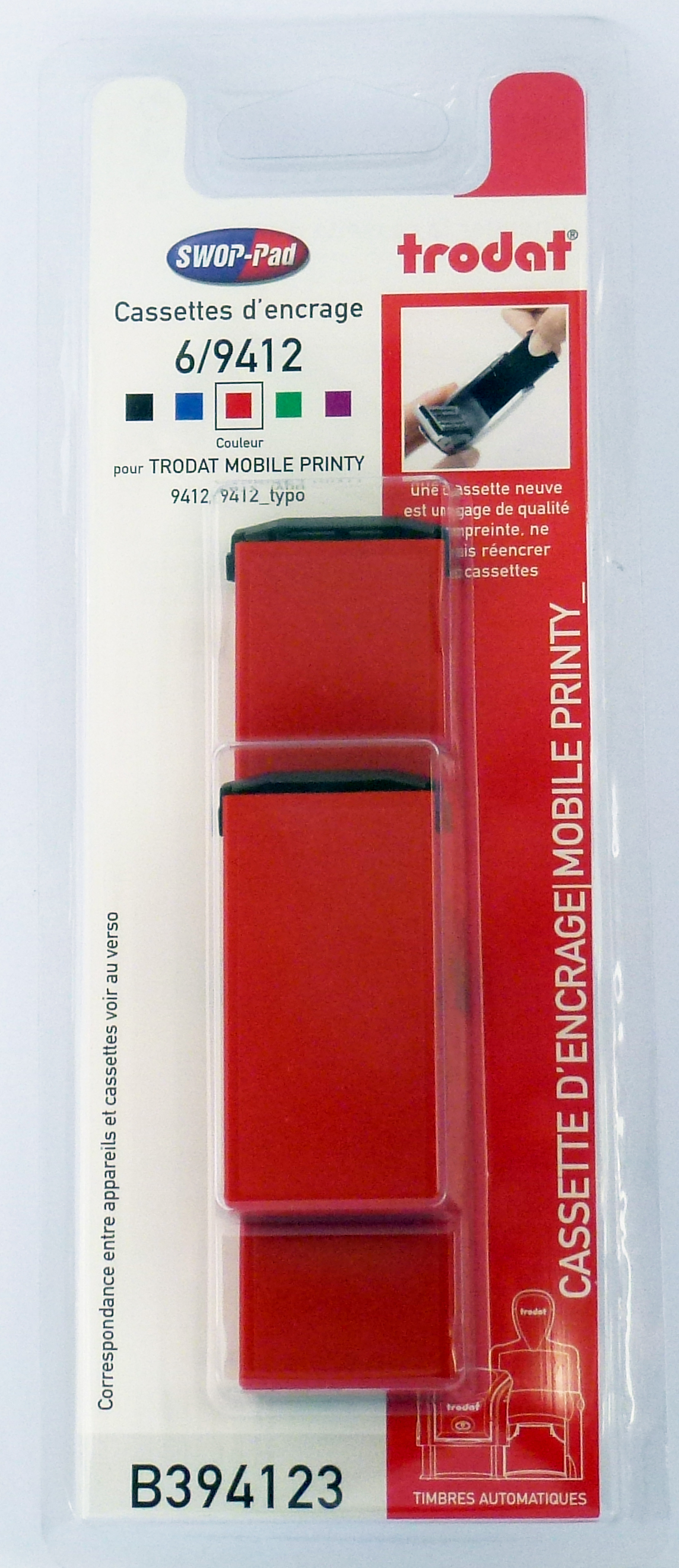 Trodat - 3 Encriers 6/9412 recharges pour tampon Mobile Printy 9412 - rouge
