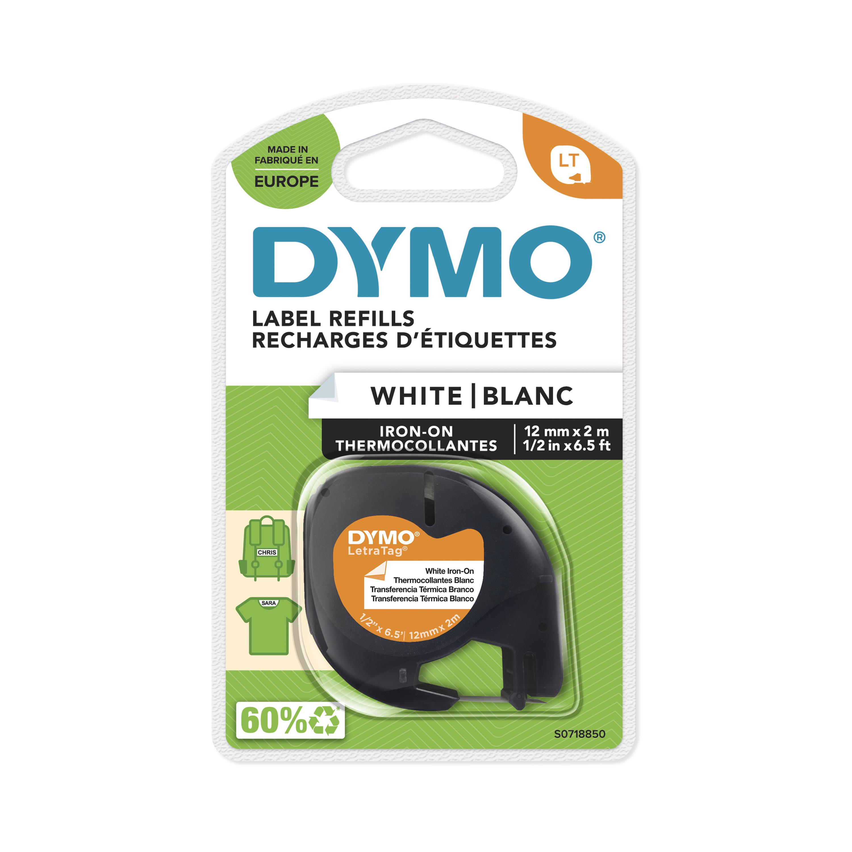 Dymo LetraTag - Ruban d'étiquettes textile auto-adhésives - (12 mm x 2 m) - fond blanc écriture noire