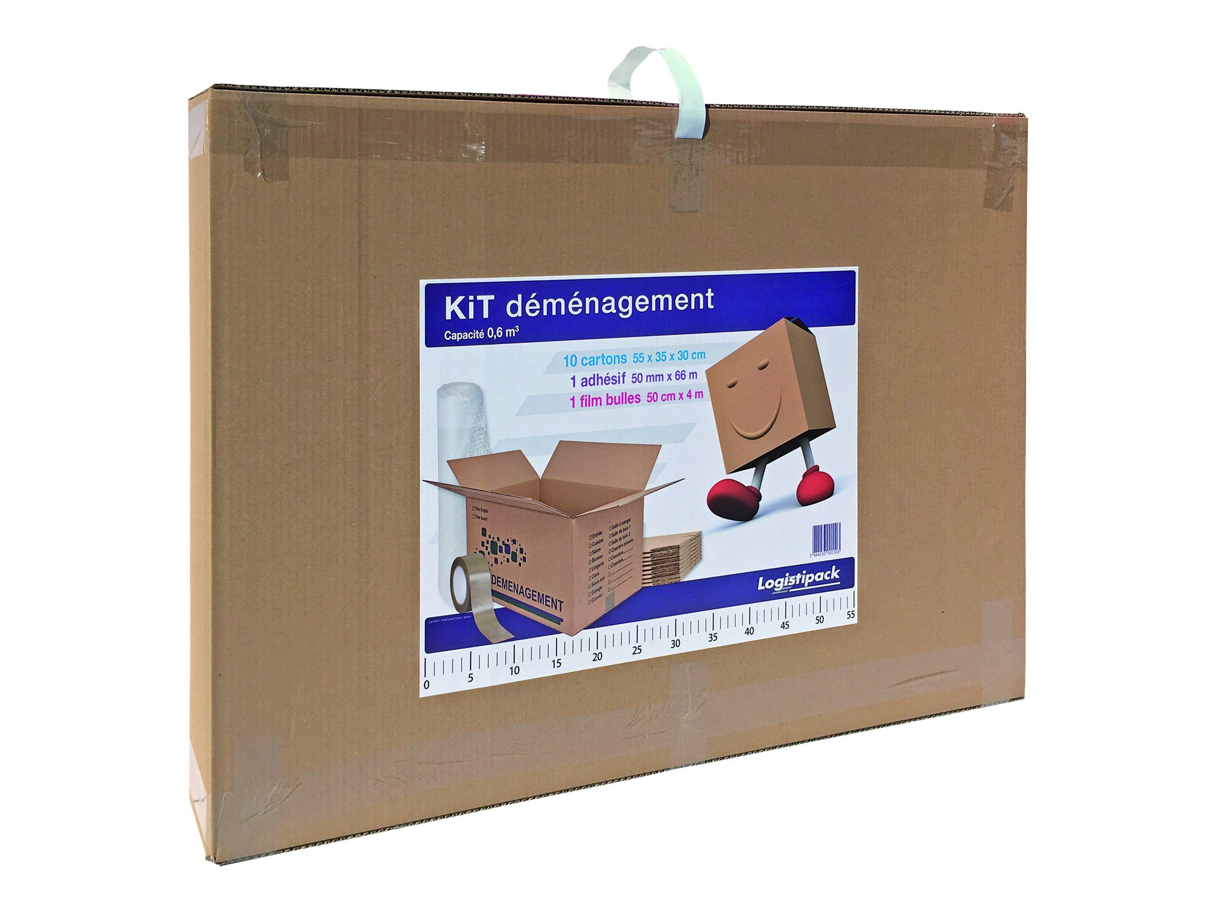 Logistipack - Kit déménagement : 10 cartons + adhésif + film bulle