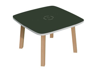 Table basse WOODY - L60 x H40 x P60 cm - plateau anthracite