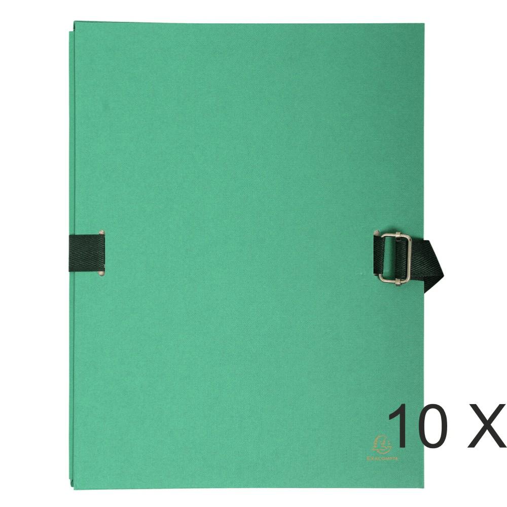 Exacompta - 10 Chemises extensibles à sangle avec rabat papier - vert clair