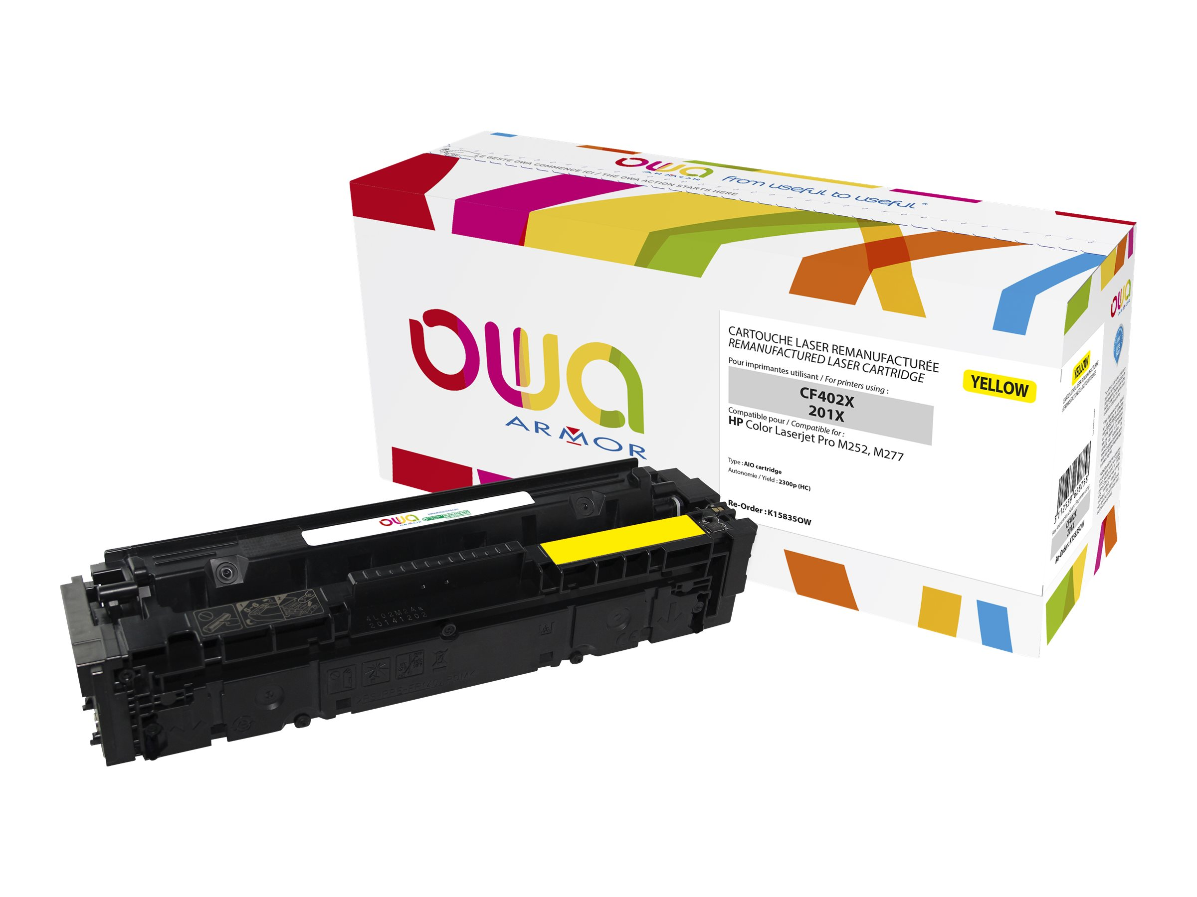 Owa K15835OW cartouche équivalente HP 201X - jaune