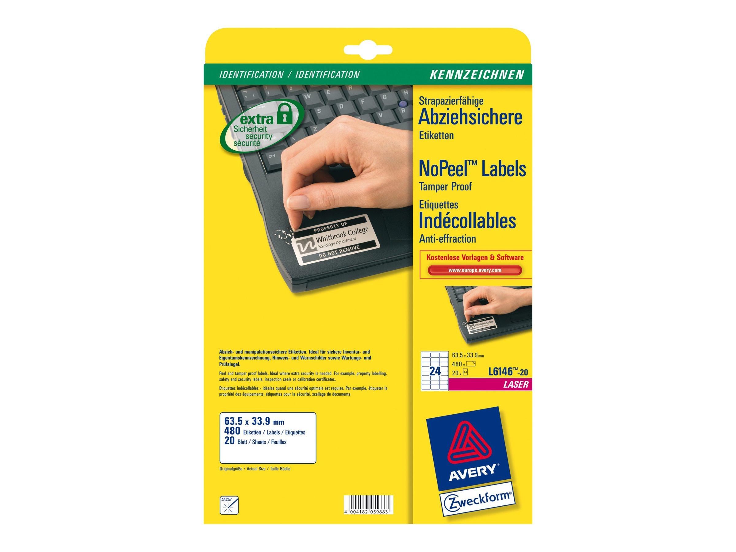 Avery - 480 Étiquettes indécollables blanches - 33,9 x 63,5 mm - Impression laser - réf L6146-20