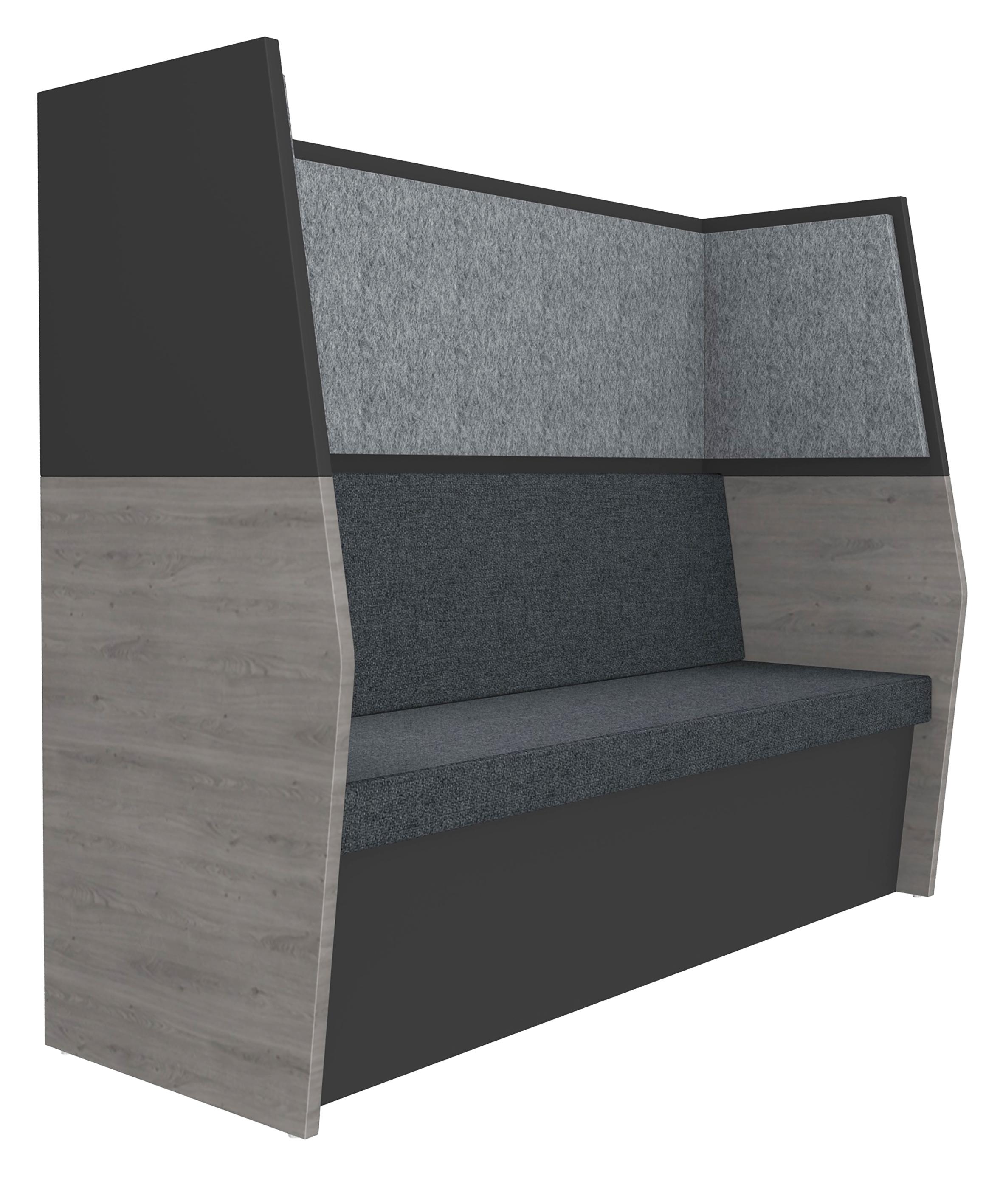 Banquette acoustique IN'TEAM - L170 x H 150 x P170 cm - 3 places - structure chêne gris et carbone - panneaux gris chiné