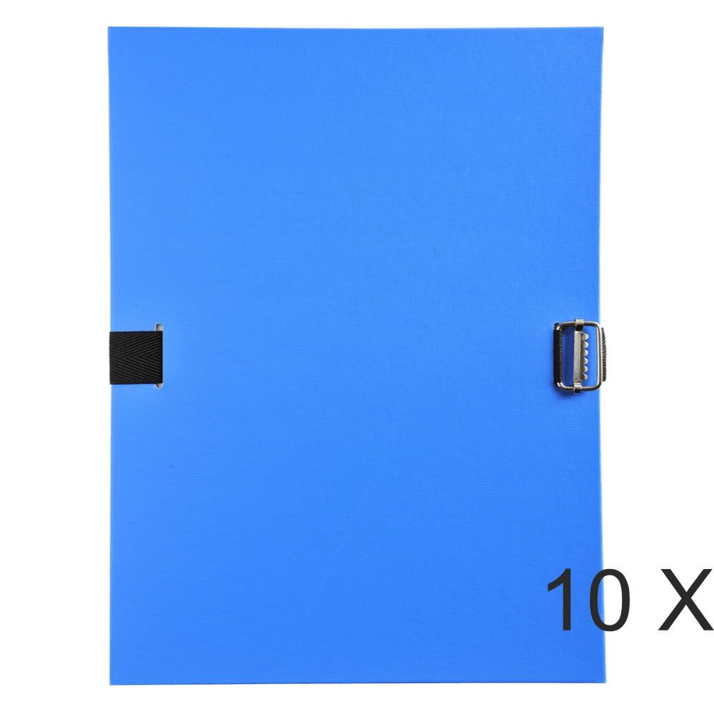 Exacompta - 10 Chemises extensibles à sangle avec rabat en pied - bleu clair