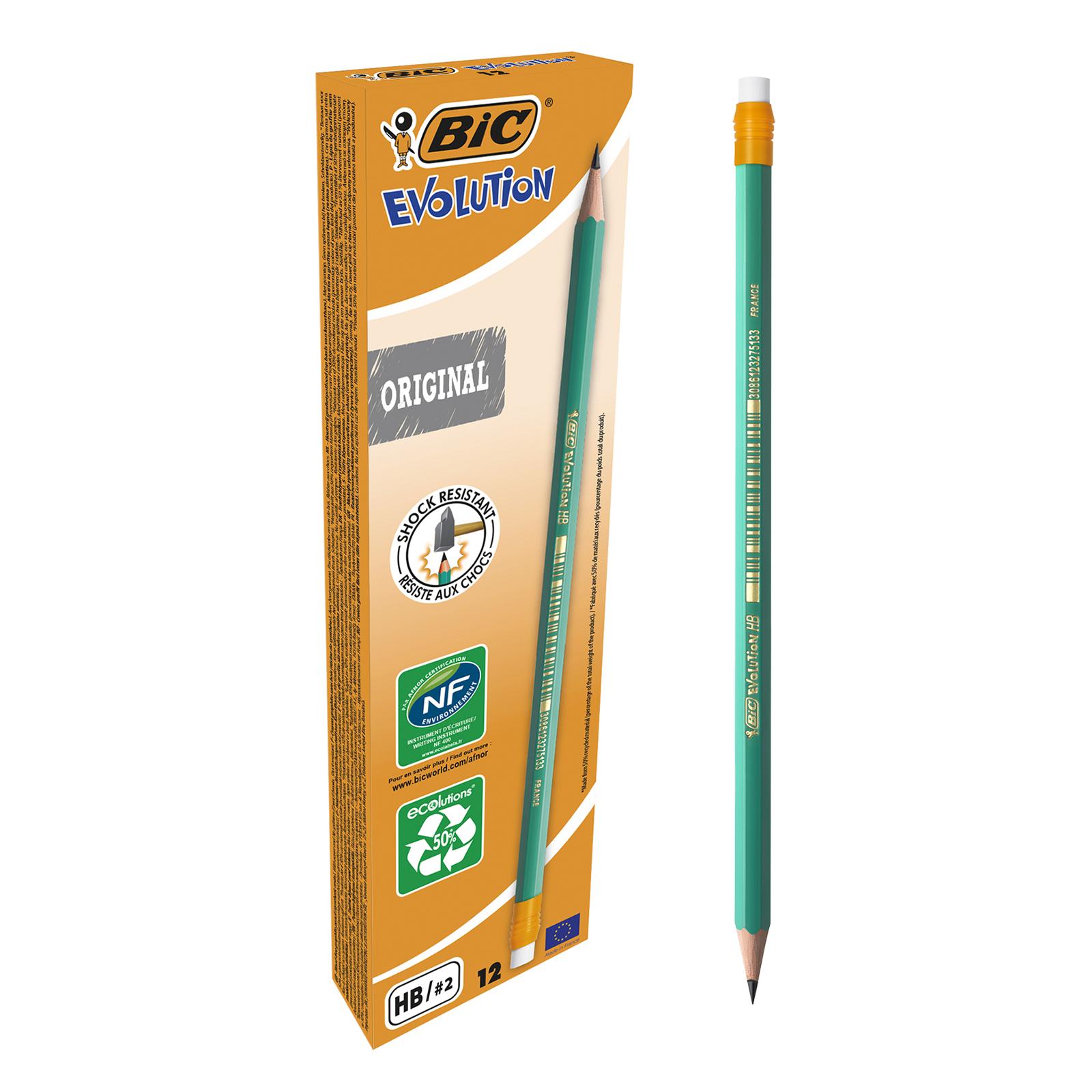 BIC ECOlutions EVOLUTION - Pack de 12 Crayons à papier - HB