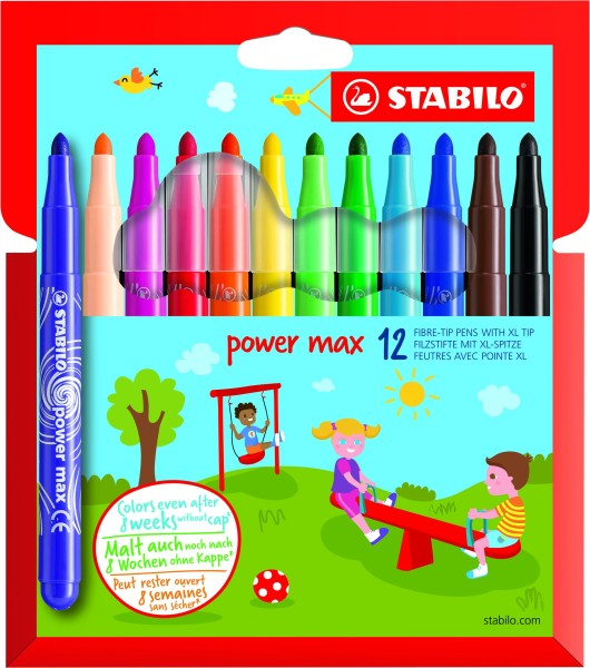 STABILO power max - 12 Feutres - pointe large