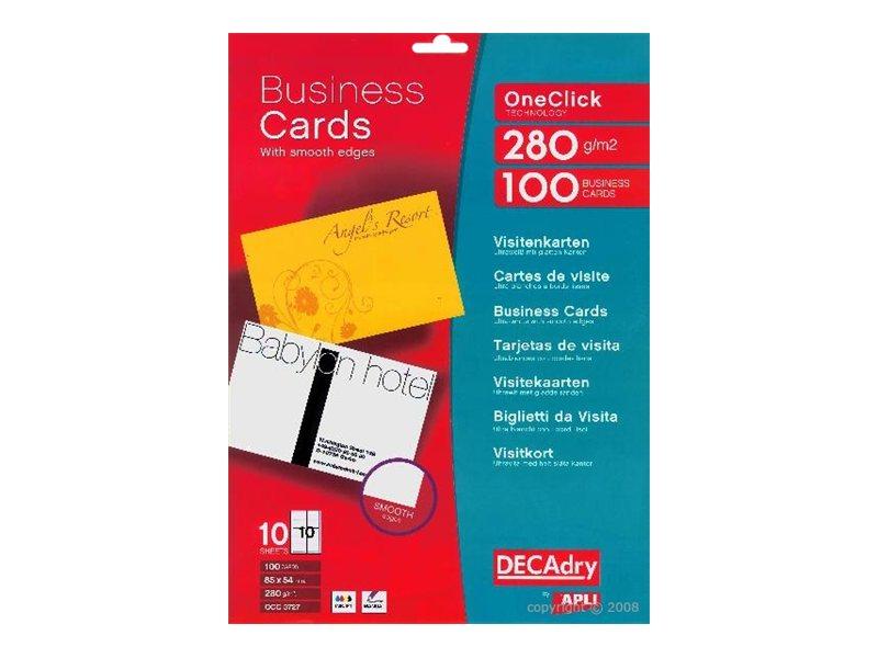 Apli DECAdry - Papier pour 100 cartes de visite 85 x 54 mm - 280 g/m² - 10 feuilles