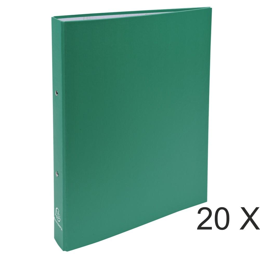 Exacompta - 20 Classeurs polypro 2 anneaux - Dos 40 mm - A4 - vert