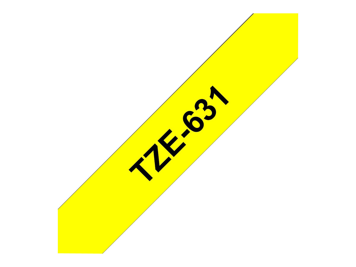 Brother TZe631 - Ruban d'étiquettes auto-adhésives - 1 rouleau (12 mm x 8 m) - fond jaune écriture noire