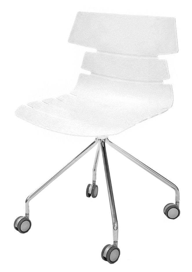 Chaise JUNE - pieds métal avec roulette - coque blanche